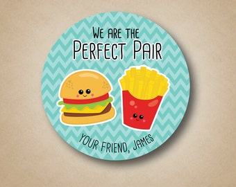 Kids Valentine Card Stickers Perfect Pair Stickers Burger and Fries Personalized Valentine Stickers Classroom Party Favor Label Treat Bag