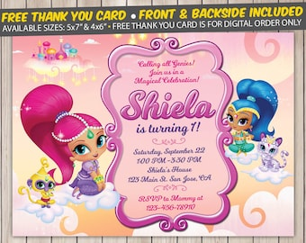 Shimmer and Shine Invitation, Shimmer and Shine Birthday Invitation, Shimmer and Shine Birthday Party, Personalized, Digital File, Printed