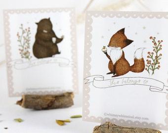 12 Bookplates - Fox & Bear