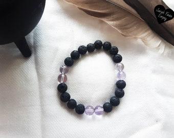 Black Lava Rock Amethyst Bracelet   Intuitive   Grounding Bracelet   Chakra Bracelets   New Age Bracelets   Witchcraft   Divination 
