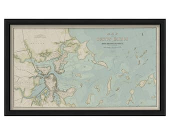 A Colored Map of Boston Harbor published in 1852