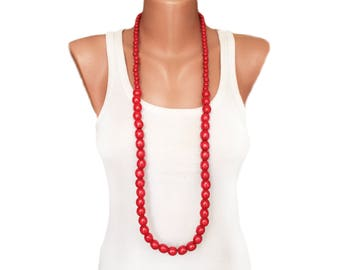 Simple red necklace Oversized wooden necklace Long necklace layering necklace handmade beaded necklace layering jewelry transformer necklace