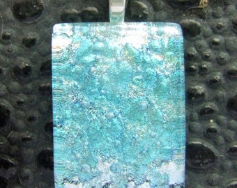 Aqua Sparkle Charm- Fused Glass Jewelry handmade in North Carolina