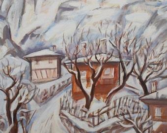 Vintage oil painting winter landscape signed