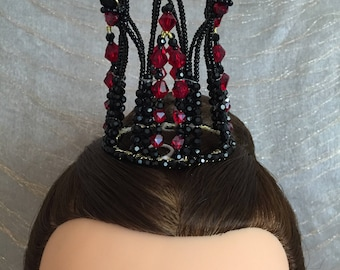 """Black and red headpiece for Evil Fairy"""" Carabosse"""" in """"Sleeping Beauty""""MADE TO ORDER"""