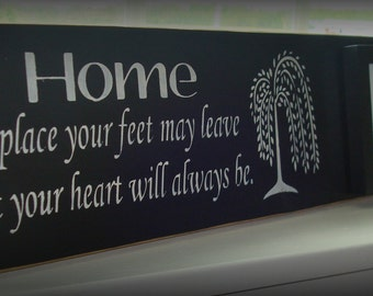 Wood sign with attached frame. Home, A place your feet  leave but your heart will always be.