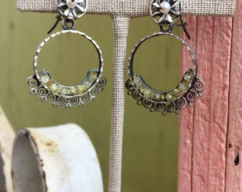 Vintage Style Mexican Blue Jaguar Steeling Silver and Dirty Diamonds Dangly Earrings