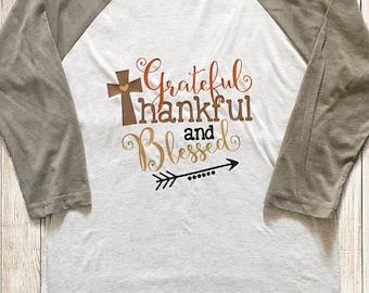 Grateful, Thankful, and Blessed adult raglan tee | Thankful | Fall | Thanksgiving | baseball tee | shirt