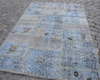 rugs patchwork, kilim blue small patchwork rug , PC1