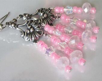 Pink Glass Earrings, Antiqued Silver Chandelier, Beaded Glass Earrings, Sunburst, Czech Glass Star Beads, Celestial Earrings
