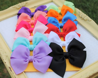 BTS Hairbows - 12 Cute Bows for Girls - 3 Inch Hairbows - Buy 10 Get 2 FREE - Bows for Baby Girl - Custom Color Hairbow Set - Back to School