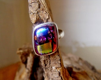 Sterling Silver Ring with Dichroic Glass RF687