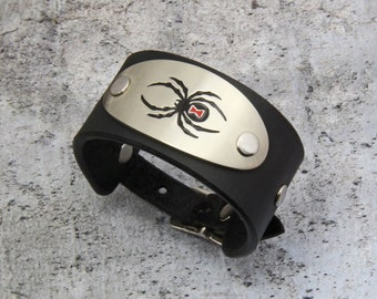 Black Widow Bracelet, Leather, Smaller Version