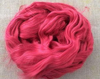 Cherry Red Dyed Bamboo Roving Vegan  Fiber 100 gr Spin Flora plant fibre combed top viscose doll hair needlefelt spinning Free Shipping