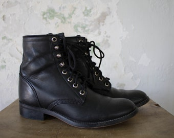 Vintage Justin Boots - Vintage Ropers - 1980s 80s 90s Black Leather Boots Combat Boots 6 5.5 5 3
