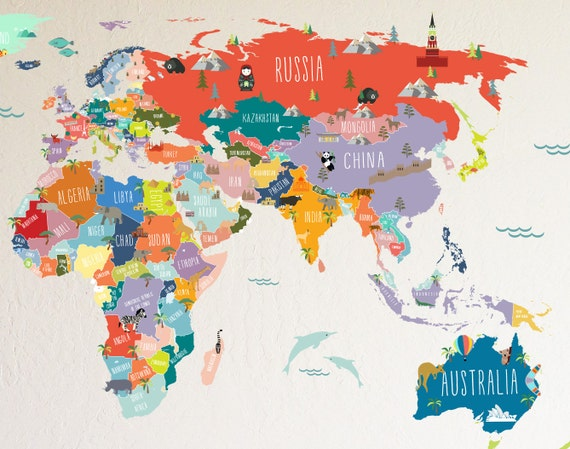 Wall Decal World Map Interactive Map Wall Sticker Room - Kids world map wall decal