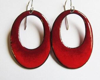 Big enamel red hoop earrings Enamel bohemian jewelry Red oval dangle earrings Colorful statement earrings