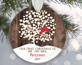 "Love birds First Christmas as Mr and Mrs Ornament, Personalized Christmas Ornament Rustic faux ""wood"" Wedding Tree Ornament Lovebirds OR856"