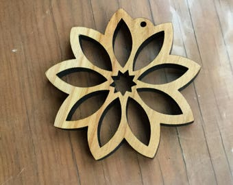 9-pointed Star Ornament, Baha'i, Wood
