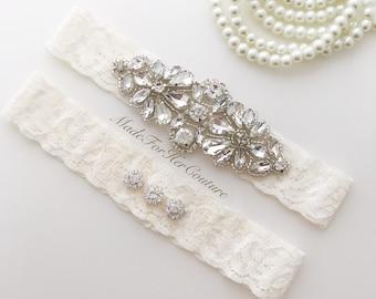 wedding garter, garters for wedding, garter set, garters, ivory garter set, bridal garter, wedding garters ivory, crystal garter set