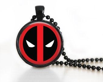 Deadpool Logo Symbol DC Glass Pendant, Photo Glass Necklace, Glass Keychain