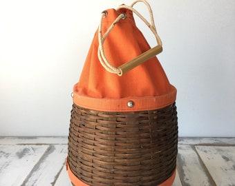 Unique Vintage Wicker Day Bag Purse With Orange Fabric Detailing