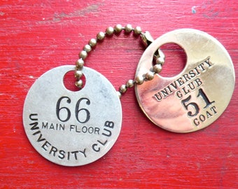 2 University Club 1 1/2 inch round tags Number 51 and Number 66 Group #11