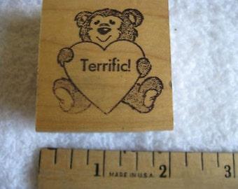 """Rubber Stamp """"TERRIFIC!"""" w Heart & Bear  1 3/4 X 1 3/4 Teachers CL20-34"""