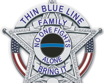 Thin Blue Line Family Support 2 Inch Reflective Decal SKU: D591-D2
