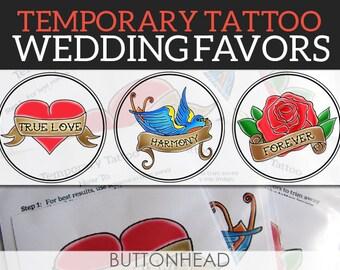 Wedding Temporary Tattoos - Temporary Tattoo Wedding Favors - Rockabilly Wedding - Set of 12