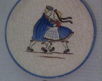 """Vintage Plate, Dutch Dancers, Wall Hanging, Made in Germany, Porcelain,  6 1/2"""" Wide"""
