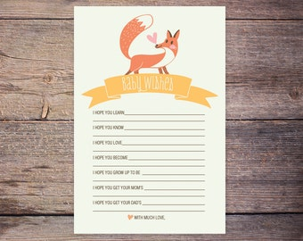 Woodland Forest Fox Gender Neutral Baby Wishes Card INSTANT DOWNLOAD Shower Game DIY Printable Baby Shower