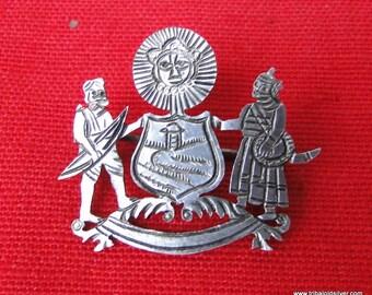 Vintage antique Sterling Silver Brooch Pin Mewar India
