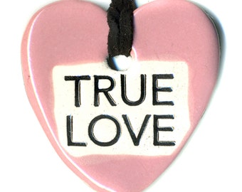 True Love Ceramic Necklace in Pink