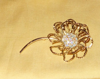 Sarah Coventry Allusion Flower Brooch Long Stem Open Petal and Rhinestones