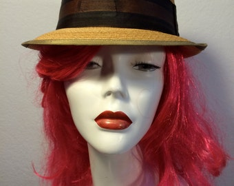 FREE  SHIPPING 1950's Straw Town Craft Fedora  Never Used