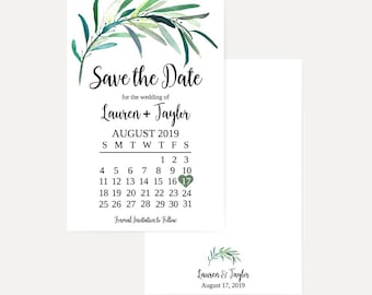 Eucalyptus Wreath Wedding Save The Date Cards, Save The Date Template with Photo, Cheap Online Wedding Save The Dates, Hadley Designs