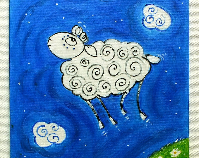 A well-behaved sheep - original acrylic painting on canvas for children