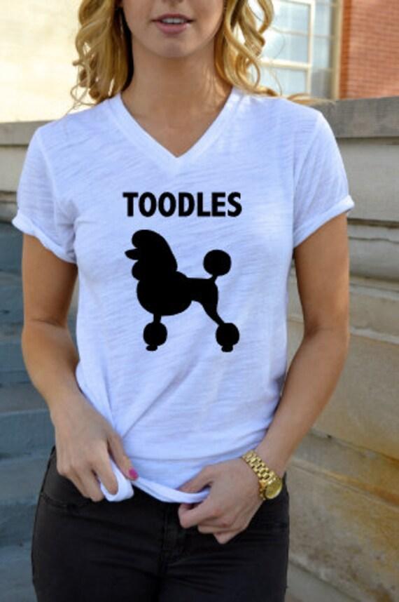 Toodles Poodles - Short Sleeve V-Neck Tee Shirt: White Slub