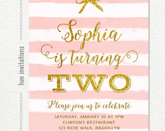 2nd birthday invitation pink and gold, second birthday invitation two stripes bow and gold glitter, blush pink printable digital invite n262