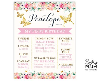 First Birthday Board / Butterly Birthday Board / Flower Birthday Board / Butterfly Milestone Board / *Digital file BY01