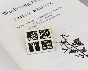 Wuthering Heights Enamel Pin - Literary Enamel Pin Badge  - Gothic Literature Collection - Book Lover - Halloween - Black and Silver Pin