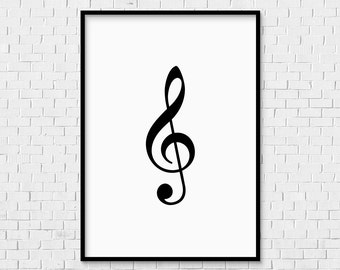 Treble Clef Print - INSTANT DOWNLOAD music bass note musician room piano violin flute guitar singer logo symbol art drawing type typography