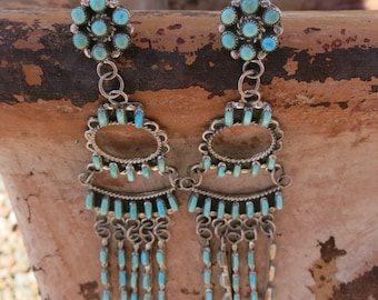 EXTRAORDINARY ZUNI CHANDELIERS, Sleeping Beauty Turquoise, Vintage, Sterling