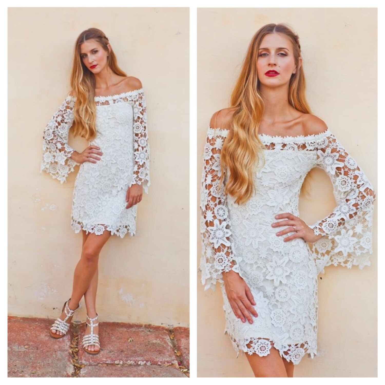 Bell Sleeve Wedding Dress: BELL SLEEVE Crochet Lace Dress / Off Shoulder Neckline / Boho