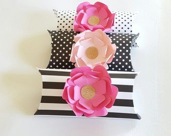 Pink, Black and Gold Pillow Boxes, 12 PC Wedding Favor, Baby Shower, Christmas Gift Box, Pillow Boxes, Wedding Gift Box, Gift Card Holder