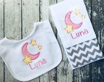 Moon and Stars Burp Cloth Set, Baby Girl Gift Set, Baby Burp Cloth Girl, Baby Burp Cloth Girl,  Baby Gift, Personalized Burp Cloth, Baby Bib