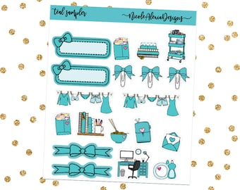 Teal Sampler, Bow Planner Stickers