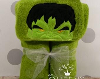 Toddler Hooded Towel - Big Green Hulk Hooded Towel - character inspired Hulk towel for Bath, Beach or Swimming Pool