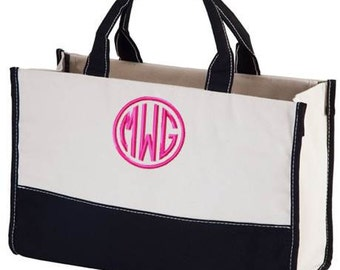 Monogrammed Tote Bag Utility Beach Teacher Travel Monogram Canvas Tote